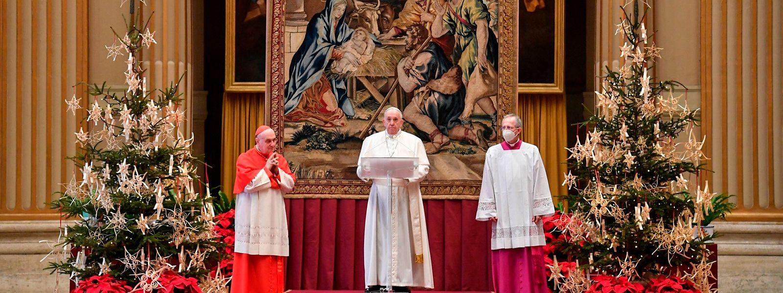 Papst Franziskus während seiner Weihnachtsansprache im vergangenen Dezember.