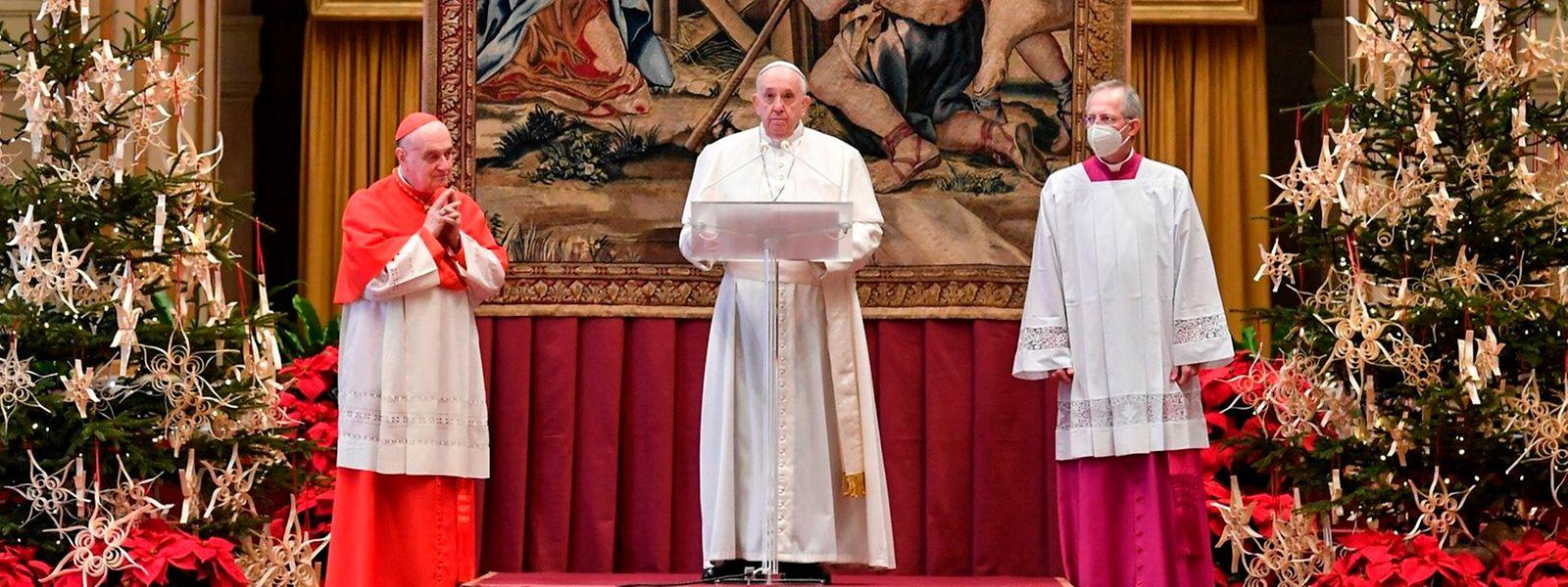 Papst Franziskus während seiner Weihnachtsansprache am Freitag.