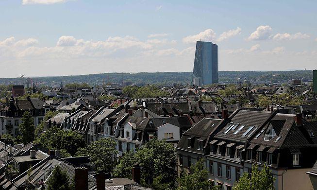 The European central bank (ECB) headquarters building over the skyline of Frankfurt