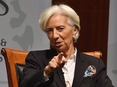 """IMF Managing Director Christine Lagarde speaks during a discussion  about """"The Economic Imperative of Empowering Women"""" at the Center for Strategic and International Studies in Washington, DC, March 7, 2017. / AFP PHOTO / Nicholas Kamm"""