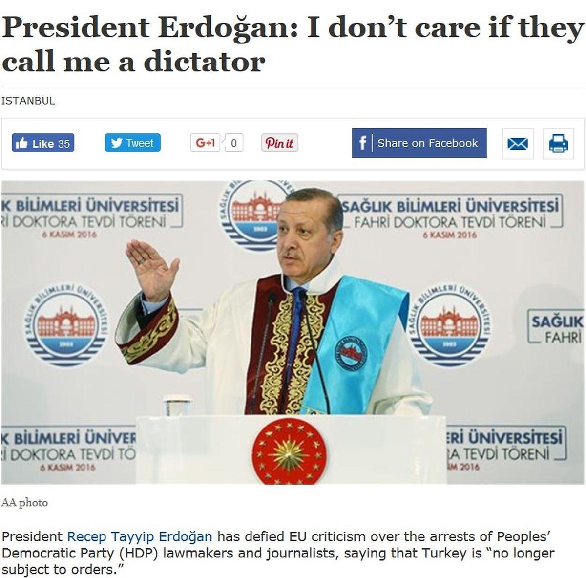 """""""Es kümmert mich nicht, wenn sie mich Diktator nennen"""", so Erdogan am Wochenende vor der türkischen Presse."""