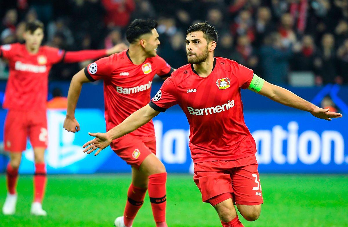 Le capitaine du Bayer Leverkusen, Kevin Volland, buteur mercredi soir contre l'Atletico Madrid