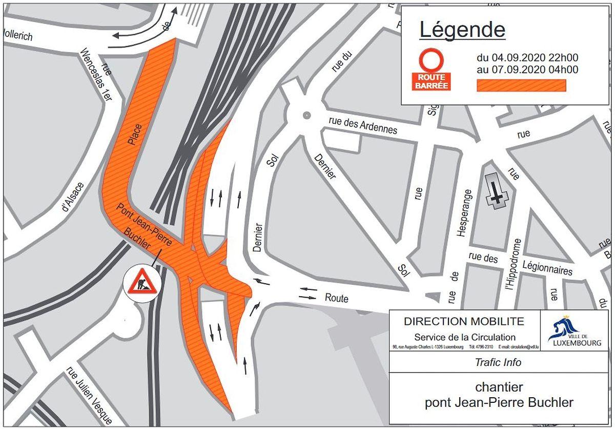 En orange, l'ensemble des accès inaccessibles entre ce vendredi 22h et lundi 4h.