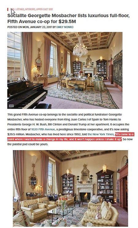 Prunkvoll: Die Wohnung an der Fifth Avenue gibt es für 29,5 Millionen Dollar.