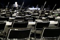 Empty chairs of the delegations are pictured on the last day of the UN Climate Change Conference COP25 at the 'IFEMA - Feria de Madrid' exhibition centre, in Madrid, on December 13, 2019. - The preservation of Earth's pristine wildernesses and oceans, long treated as a separate issue to curbing climate change, is taking on more importance as scientists say they really need to go hand in hand. While the focus at COP25 in Madrid these past two weeks has been on climate change and the growing urgency to cut greenhouse gas emissions, organisers have made an effort to put the natural environment into the mix. (Photo by CRISTINA QUICLER / AFP)