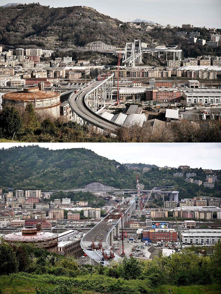 Ein Vorher-Nachher-Vergleich zeigt die alte (oben) und neue Brücke in Genua.