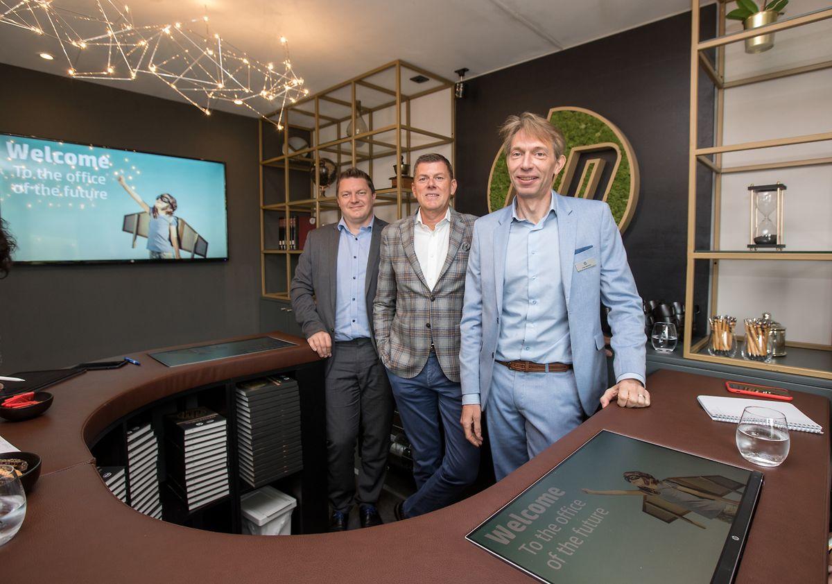 Koen van Beneden, Dirk Slachmuylder et Sven Olbrechts  de HP Belgium ont détaillé les différents aspects du bureau du futur.