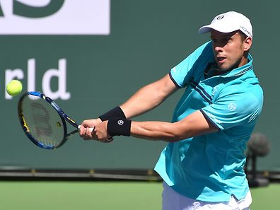 Mar 14, 2017; Indian Wells, CA, USA; Gilles Muller (LUX) in his fourth round match against Kei Nishilori (not pictured) in the BNP Paribas Open at the Indian Wells Tennis Garden. Mandatory Credit: Jayne Kamin-Oncea-USA TODAY Sports