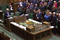 "A video grab from footage broadcast by the UK Parliament's Parliamentary Recording Unit (PRU) shows Speaker of the House of Commons John Bercow (L) reading the address from the Queen that was just read by the Speaker of the House of Lords in the House of Commons in London on September 10, 2019, after the ceremony to prorogue (suspend) parliament. - The UK Parliament was prorogued, or suspended, until October 14, 2019. (Photo by HO / various sources / AFP) / RESTRICTED TO EDITORIAL USE - MANDATORY CREDIT "" AFP PHOTO / PRU "" - NO USE FOR ENTERTAINMENT, SATIRICAL, MARKETING OR ADVERTISING CAMPAIGNS - EDITORS NOTE THE IMAGE HAS BEEN DIGITALLY ALTERED AT SOURCE TO OBSCURE VISIBLE DOCUMENTS"