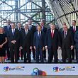 (First row, from L) Foreign Affairs and Security Policy Federica Mogherini, Romania's President Klaus Werner Iohannis, President of the Republic of Azerbaijan Ilham Aliyev, European Council President Donald Tusk, Ukrainian President Petro Poroshenko, European Commission president Jean-Claude Juncker and other leaders of the Eastern Partnership group pose for the photograph during the 10th EU-Eastern Partnership council meeting, in Brussels on May 13, 2019. (Photo by EMMANUEL DUNAND / AFP)
