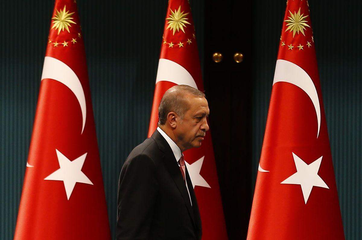 Erdogan nach seiner Ansprache.