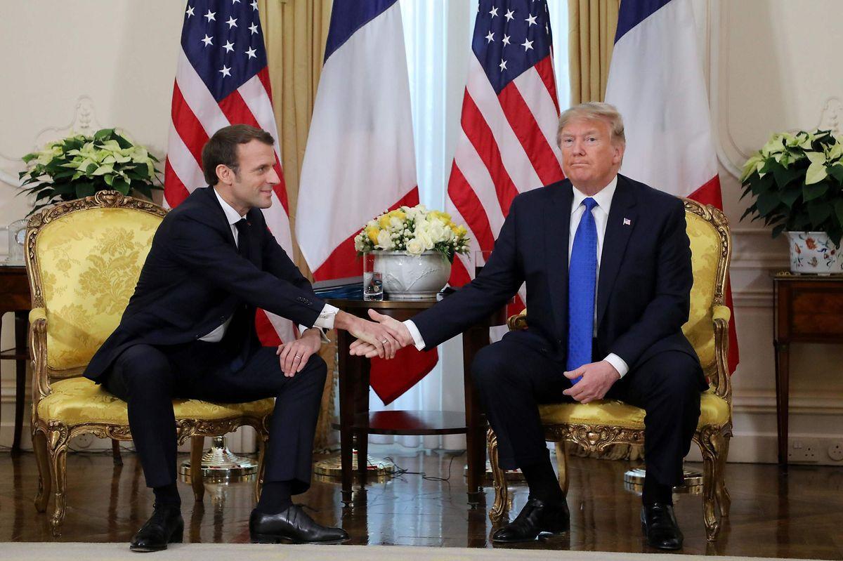 Kühle Atmosphäre: Donald Trump und Emmanuel Macron trafen sich im Winfield House in London für ein Gespräch.