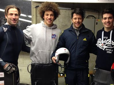 The Luxembourg skeleton team: from left to right: Jeff Bauer, Joe Schiltges, Markus Penz (coach and sportsman) and Tom Sliepen pictured at Igls in Austria