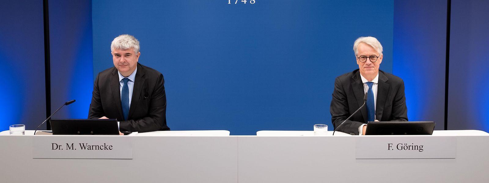 Markus Warncke (links, Vorstand Finanzen) und Frank Göring (Vorstandsvorsitzender) präsentieren das Ergebnis des Geschäftsjahres 2020 der Villeroy & Boch AG.