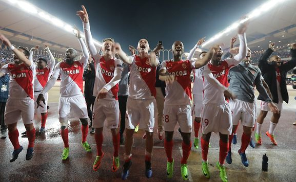 Soccer Football - AS Monaco v Manchester City - UEFA Champions League Round of 16 Second Leg - Stade Louis II, Monaco - 15/3/17 Monaco's players celebrate after the game Reuters / Eric Gaillard Livepic