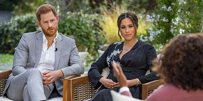 Prince Harry and Meghan Markle during an interview with Oprah Winfrey