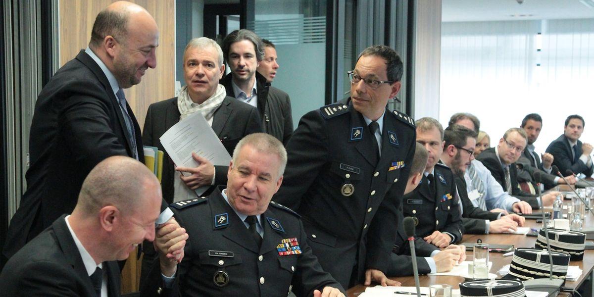 Die zuständigen Minister Etienne Schneider und Dan Kersch nach der Sitzung am Montag.