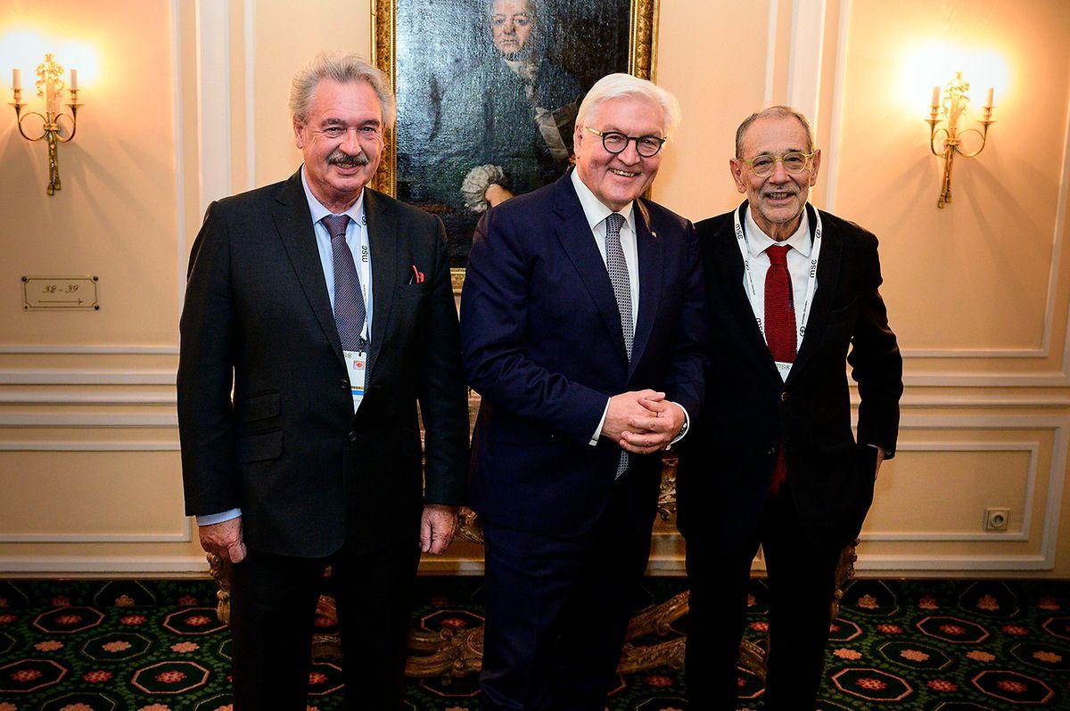 Außenminister Jean Asselborn (l.)mit dem deutschen Bundespräsidenten Frank-Walter Steinmeier und dem ehemaligen NATO-Generalsekretär Javier Solana (r.).
