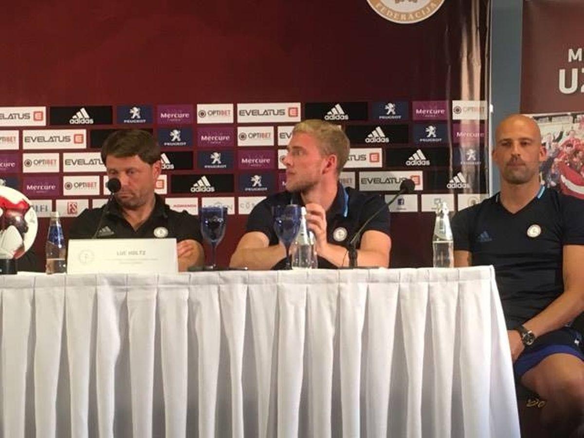 Luc Holtz, Laurent Jans und Jonathan Joubert (v.l.n.r.) bei der Pressekonferenz.