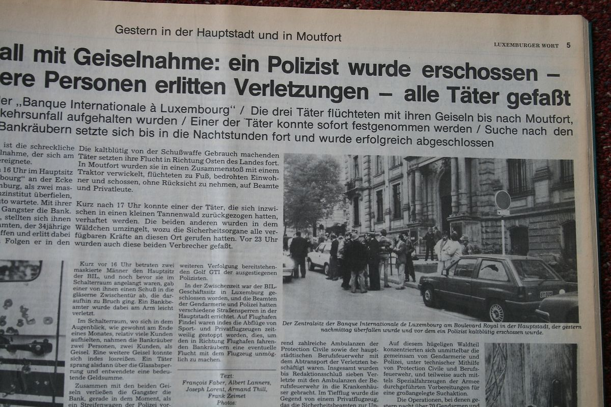 In großer Aufmachung berichtete das Luxemburger Wort vom Überfall der Waldbilliger Bande auf die BIL.