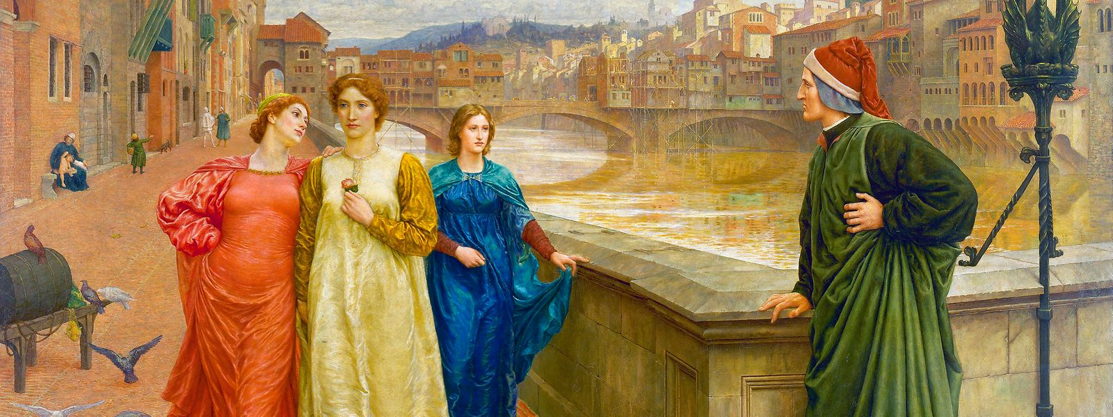 """""""Dante und Beatrice"""" (1882-1884) ist das bedeutendste Werk des britischen Malers Henry Holiday (1839-1927). Das Thema des Gemäldes ist inspiriert von Dantes Autobiografie """"Vita Nuova"""". Auf dem Ölgemälde ist die Szene dargestellt, in der Beatrice sich weigert, Dante zu begrüßen, weil der Klatsch sie erreicht hatte. Beatrice ist die hell gekleidete Frau in der Mitte."""