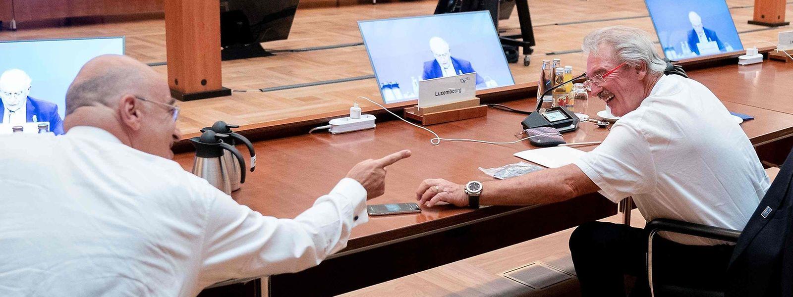 Moment de complicité entre Jean Asselborn et le Grec Nikos Dendias, ce jeudi à Berlin.