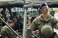 Eurokorps-Soldaten bei einer Übung in Deutschland.