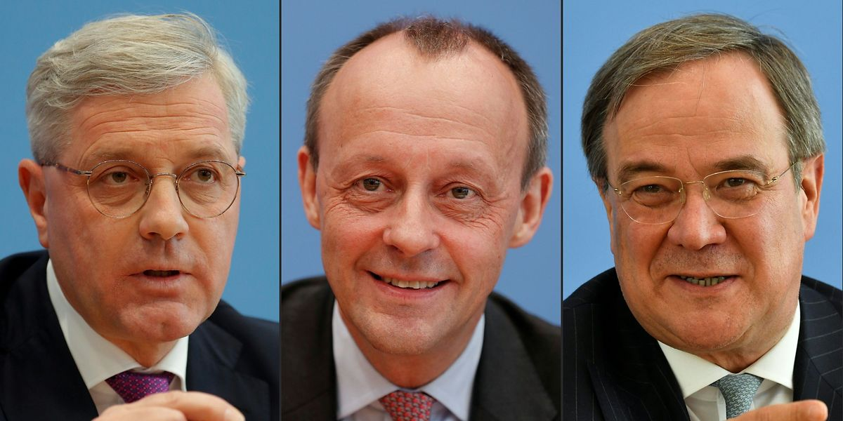 V.l.n.r.: Norbert Roettgen, Friedrich Merz und Armin Laschet.