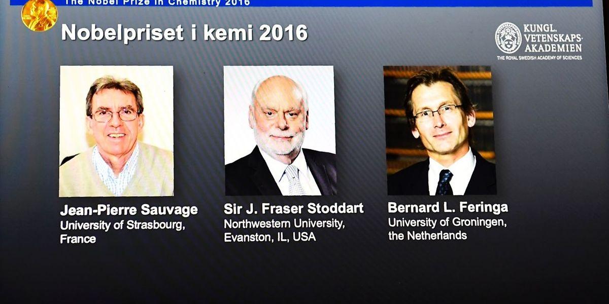 Jean-Pierre Sauvage, J. Fraser Stoddart und Bernard Feringa heißen die Chemie-Nobelpreisträger.