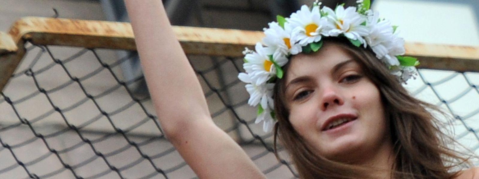 La cofondatrice des Femen, Oksana Chatchko, pendant une action du groupe à Kiev le 1er février 2011.