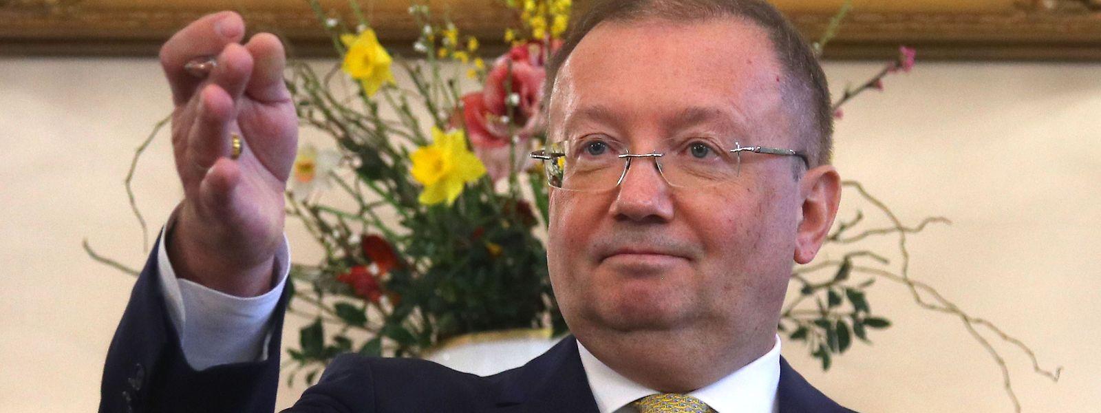 Der russische Botschafter in London, Alexander Jakowenko, äußert sich zum Fall Skripal bei einer Pressekonferenz in London.