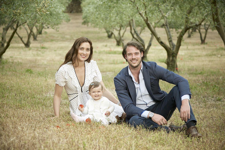 Le Prince Felix du Luxembourg son épouse Claire et leur fille Amalia, dans la propriété du château de lacostre près de Lorgues.