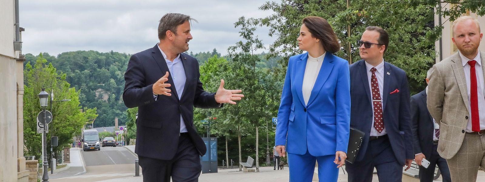 Premierminister Xavier Bettel (links) empfing die belarussische Oppositionelle Swetlana Tichanowskaja in Luxemburg.