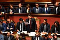 "Italian Prime Minister Giuseppe Conte delivers a speech at the Italian Senate, in Rome, on August 20, 2019, as the country faces a political crisis. - Italy's Premier Conte says to offer resignation during his speech at the Senate after calling Italy's far-right Interior Minister Matteo Salvini ""irresponsible"" to spark a political crisis by pulling the plug on the governing coalition. (Photo by Andreas SOLARO / AFP)"