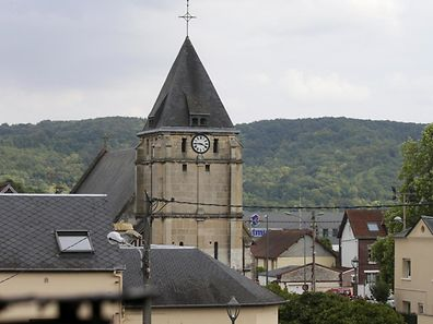 The bell tower of the church is seen after a hostage-taking in Saint-Etienne-du-Rouvray near Rouen in Normandy, France, on Wednesday.