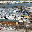 """Der Yachthafen von Marigot auf Saint-Martin nach """"Irma""""."""