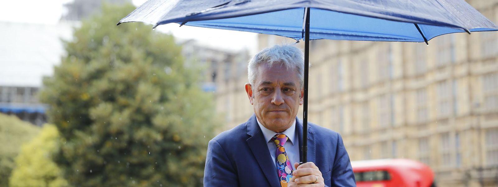 Parlamentssprecher John Bercow trifft zu einer Pressekonferenz in Westminster ein.