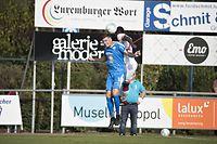 Sven Becker (Grevenmacher l.) gegen Moussa Seydi (Fola r.) / Fussball, Coupe de Luxembourg, 1/32 Finale, Grevenmacher - Fola / 22.09.2019 / Grevenmacher / Foto: Christian Kemp