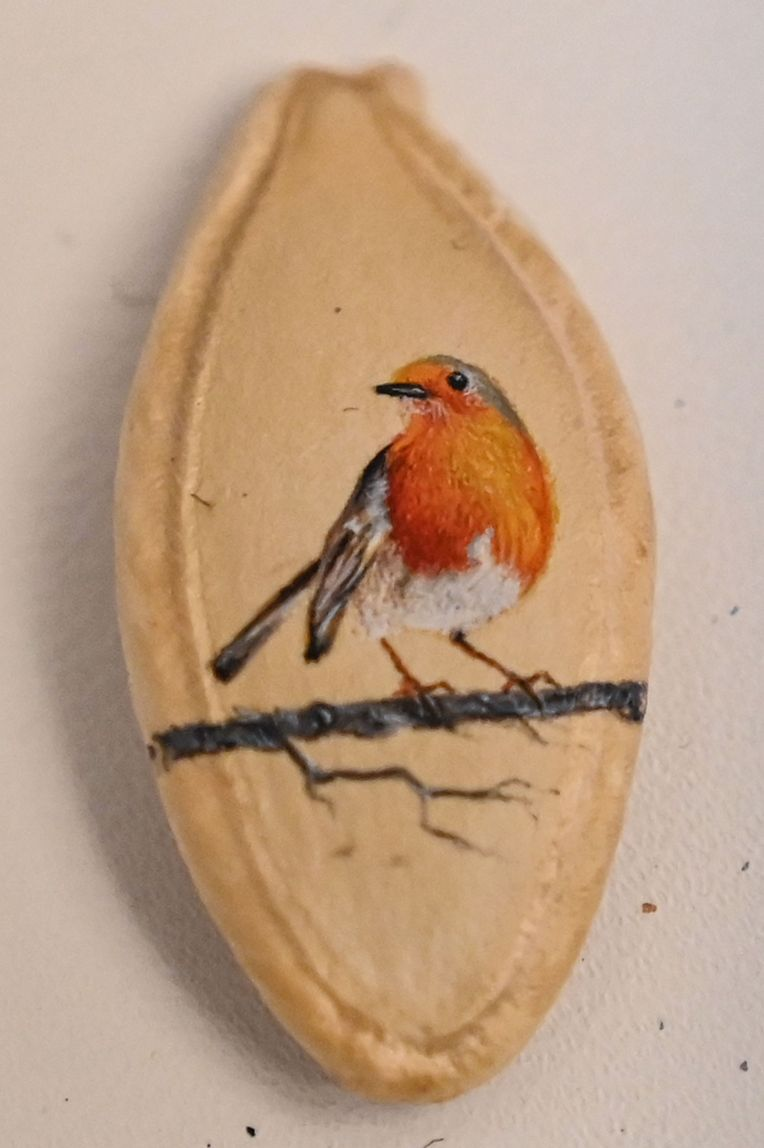 A picture taken on August 23, 2019 shows a bird painted on a pumpkin seed by Turkey's micro artist Hasan Kale in Istanbul. - His canvas could be anything from match sticks, seeds to razors and crown corks. Turkey's micro artist, also known as Turkish Microangelo in reference to Italian Renaissance sculptor and painter Michelangelo, has been hitting his brush onto tiny everyday objects for more than two decades. (Photo by Ozan KOSE / AFP) / RESTRICTED TO EDITORIAL USE - MANDATORY MENTION OF THE ARTIST UPON PUBLICATION - TO ILLUSTRATE THE EVENT AS SPECIFIED IN THE CAPTION