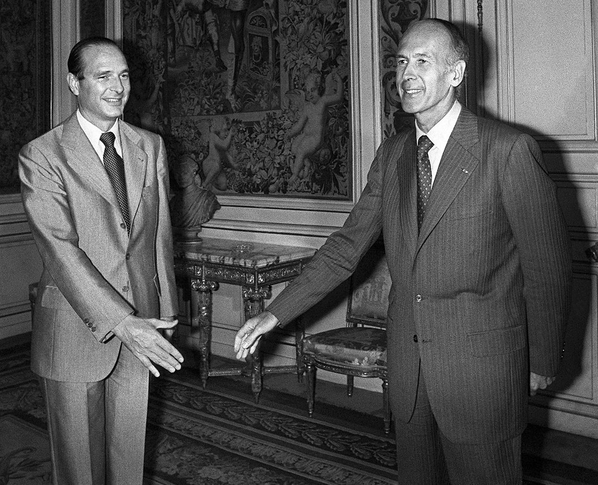 Jacques Chirac avec le président Valéry Giscard d'Estaing, dont il fut le Premier ministre de 1974 à 1976.