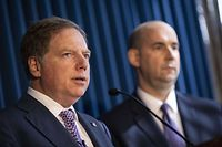 NEW YORK, NY - OCTOBER 10: (L-R) Geoffrey Berman, U.S. Attorney for the Southern District of New York, speaks as William F. Sweeney, assistant director-in-charge of the New York Office of the Federal Bureau of Investigation (FBI), looks on during a press conference at the U.S. Attorneys office of Southern District of New York on October 10, 2019 in New York City. Lev Parnas and Igor Fruman, associates of President Trumps personal lawyer Rudy Giuliani, have arrested on campaign finance charges.   Drew Angerer/Getty Images/AFP == FOR NEWSPAPERS, INTERNET, TELCOS & TELEVISION USE ONLY ==
