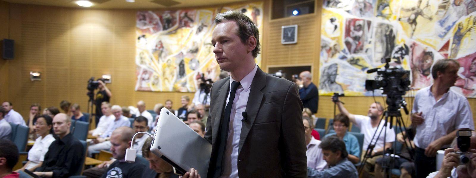 Assange während einer Konferenz im August 2010 in Stockholm.