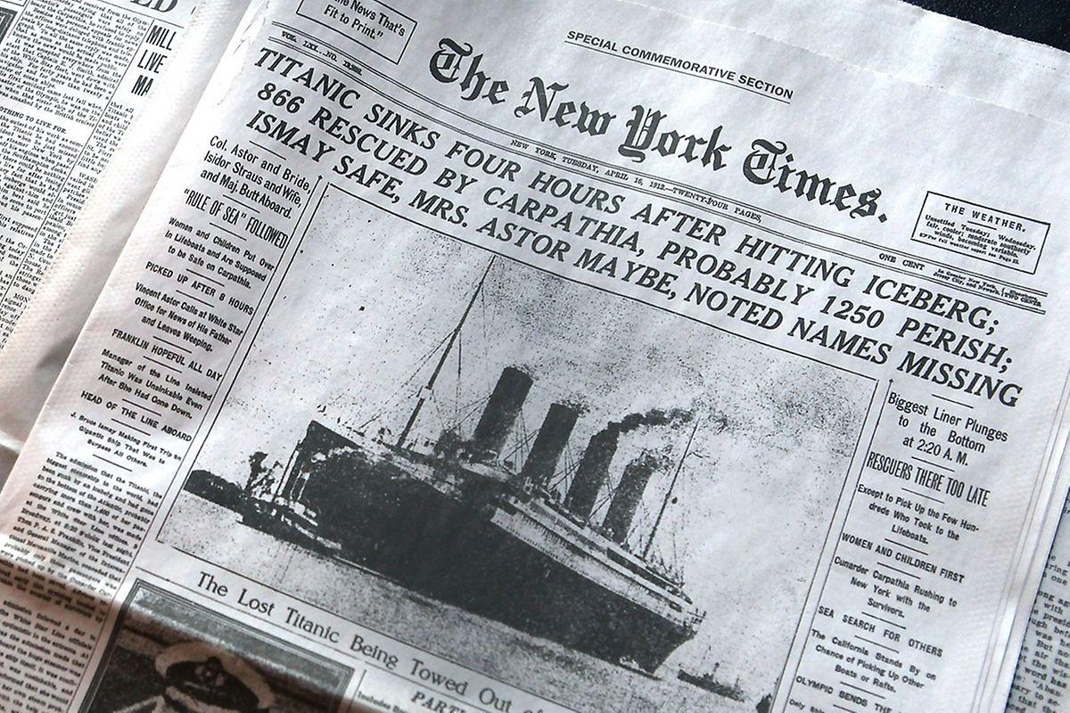 """Die """"New York Times"""" meldet das Unglück am 15. April 1912 auf ihrer Titelseite: """"Titanic sinkt vier Stunden nach Kollision mit Eisberg"""""""