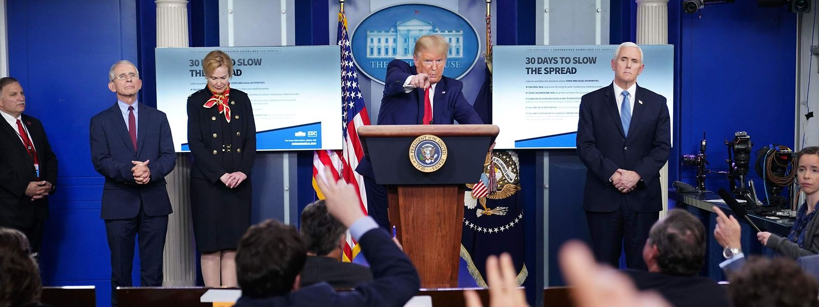 US-Präsident Trump bei einer Pressekonferenz am Dienstagabend.