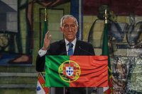 Presidential candidate Marcelo Rebelo de Sousa delivers his victory speech after been re-elected as Portugal's President during the 2021 presidential elections in Lisbon on January 24, 2021. - Marcelo Rebelo de Sousa won Portugal's presidential election with a majority of the vote in the first round, according to the election commission. (Photo by PATRICIA DE MELO MOREIRA / AFP)
