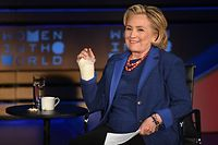 (FILES) In this file photo taken on April 13, 2018 Former Secretary of State Hillary Rodham Clinton speaks onstage at the Women of the World Summit in New York City. - Hillary Clinton on October 20, 2019 posted a joke letter on Twitter supposedly sent by John F. Kennedy during the 1962 Cuban missile crisis, written in the excitable style of US President Donald Trump's recent letter to Turkey. The parody letter, which has been doing the rounds for some days on social media, is written on mocked-up White House letter paper and addressed to Russia's then leader Nikita Khrushchev. (Photo by ANGELA WEISS / AFP)