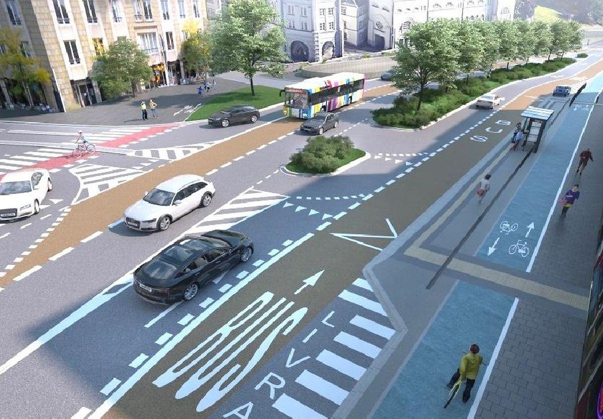 Sur le futur boulevard Roosevelt, comme sur le viaduc, les voitures et les bus disposeront d'une voie dans chaque sens. Piétons et cyclistes circuleront sur une large bande séparée par un trait de peinture.