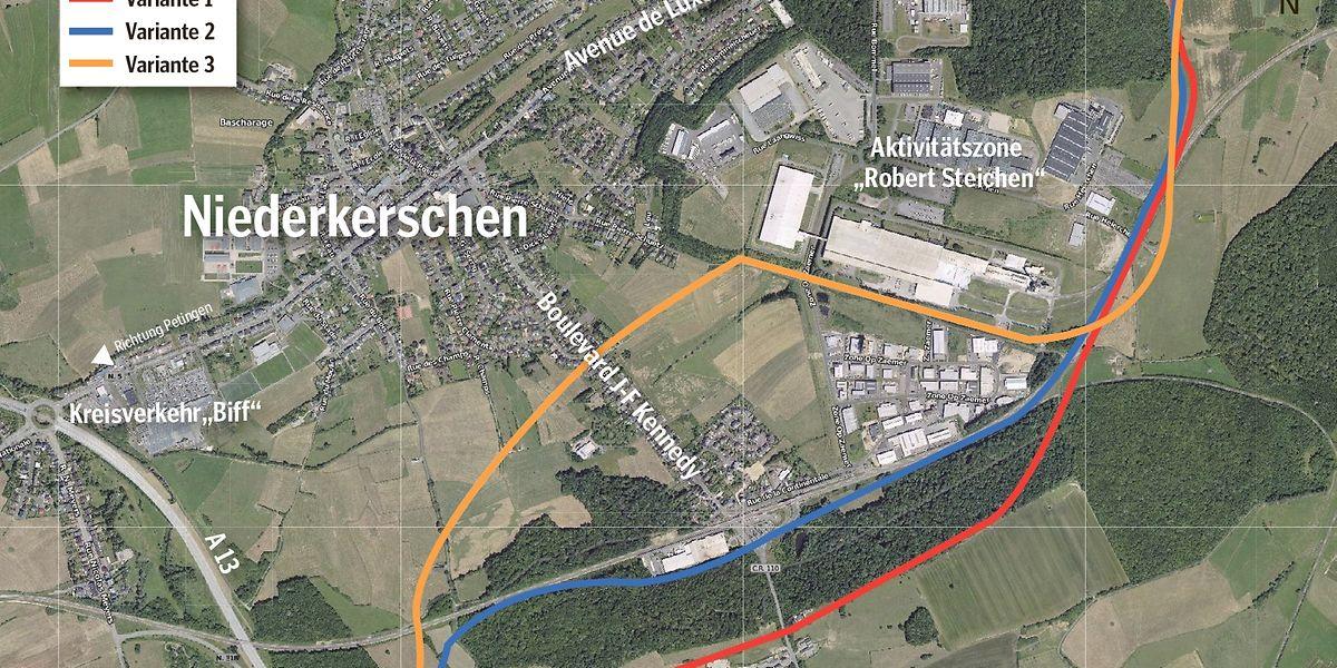 Drei Varianten sind derzeit für die Umgehungsstraße von Niederkerschen im Gespräch.