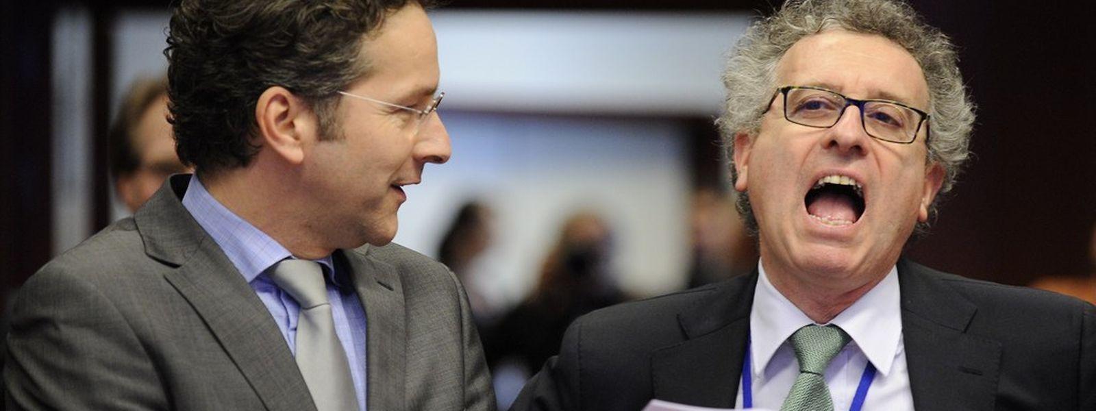 In einem Boot was umstrittene Steuerpraktiken von Unternehmen in der EU angeht: Finanzminister Pierre Gramegna (r.) und sein niederländischer Amtskollege Jeroen Dijsselbloem.