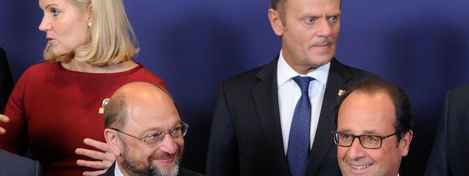 Helle Thorning Schmidt, Donald Tusk, Martin Schulz und Francois Hollande beim EU-Sondergipfel in Brüssel.